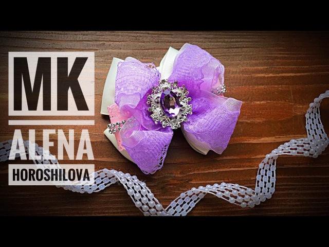 Нежные бантики 9см из лент своими руками Канзаши Алена Хорошилова tutorial ribbon bow DIY Kanzashi