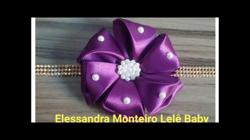 DIY:Flor Doce Encanto!!🌹🌹Feito com Fita de Cetim|Elessandra Monteiro Lelê Baby V:19