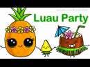 How to Draw Cartoon Pineapple and Coconut Cute step by step Luau Party