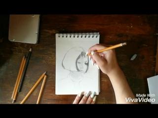 Процесс создания рисунка. Матильда. Леон
