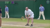 Wimbledon fan that was invited to play with the ladies after yelling advice to players from the stands