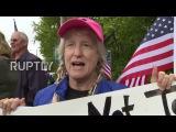 США Анти-Трамп протестующие осуждают его речь в Университете Либерти.