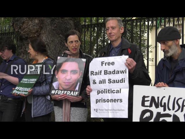 Великобритания: Жена блогера, заключенная в тюрьму в Саудовской Аравии, приводит протест с требованием его освобождения.