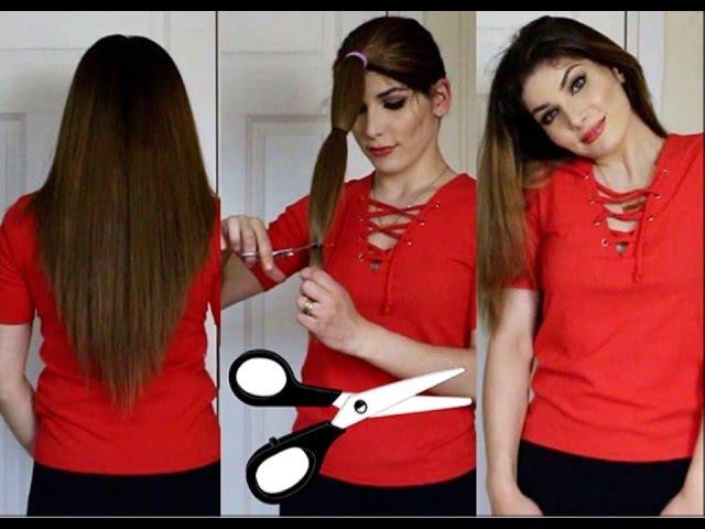 كيف تقصين شعرك مدرج في المنزل بطريقة جدا سه