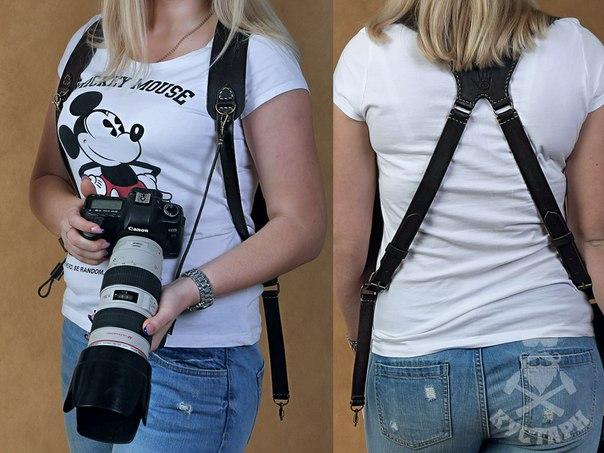 Разгрузка для фоторепортера на 3 фотоаппаратаR-1. Кожа Цена 3800 ру