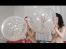 Girls race blow to pop big balloons