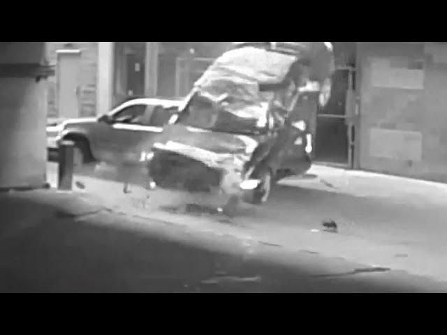NEAR MISS: Car tumbles seven stories from Austin, Texas parking gara narrowly missing SUV