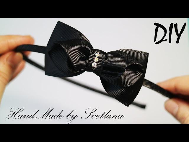 Черный бантик из репсовой ленты Канзаши DIY Grosgrain ribbon bow Headband