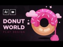Illustrator Speedart Flat Design Donut World