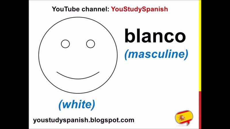 Spanish Lesson 3 - COLORS in Spanish Masculine Feminine for kids LOS COLORES en español para niños
