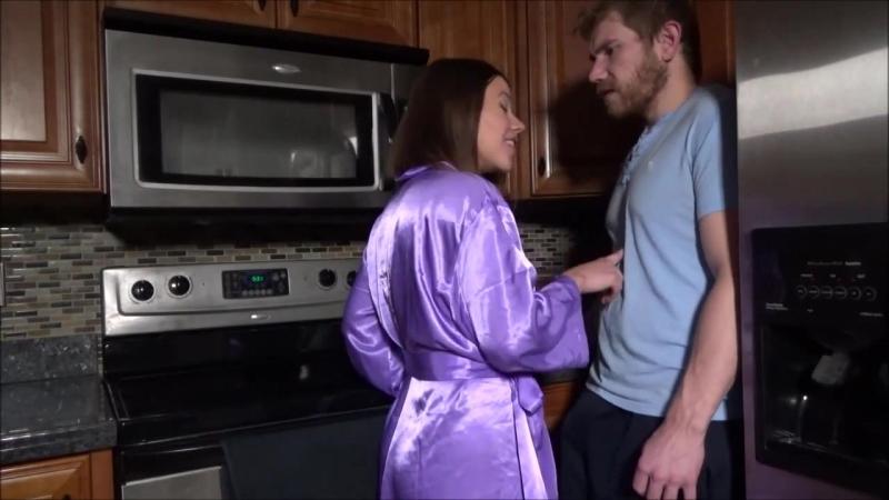 Woman in purple silk robe, satin kimono.