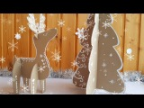 Cardboard Christmas Tree & Cardboard Deer. Gingerbread style crafts
