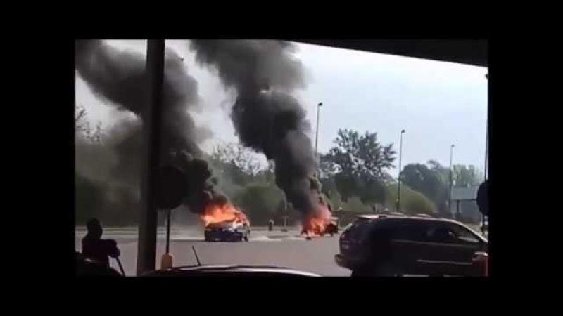 пожар на границе Брест Тересполь 10 сентября... 2017..возгорание двух автомобилей
