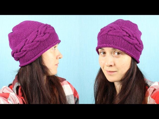 Вязаная шапка с поперечной косой. Шапка спицами💎