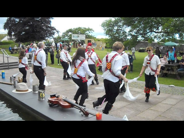 Cardiff Morris dance Y Caseg Eira in the National Botanic Garden of Wales, 29th June 2014.
