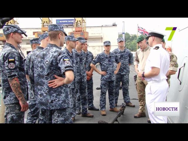 Тренировка на корабле Королевского флота украинских и британских моряков
