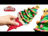 Play Doh Christmas Pine Tree Ice Cream. Make Kawaii Food Out of Play Doh DIY. Art and Craft for Kids
