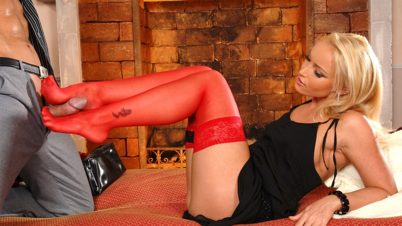 Kathia Nobili HD 720, All Sex, Foot Fetish, Red Stockings, Blonde, Feet,