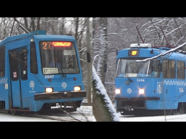 Зимняя сказка! Встреча трамваев 71-134А (ЛМ99АЭ) №3047 и Tatra-t3 МТТА №3346