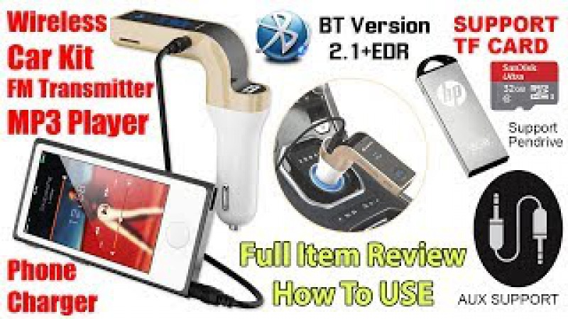 How to use Wireless Bluetooth FM Transmitter Kit For Car Music MP3 Player Radio USB Port