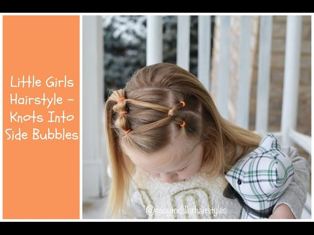 Little Girls Hairstyle - Side Knot Into Bubble Ponies