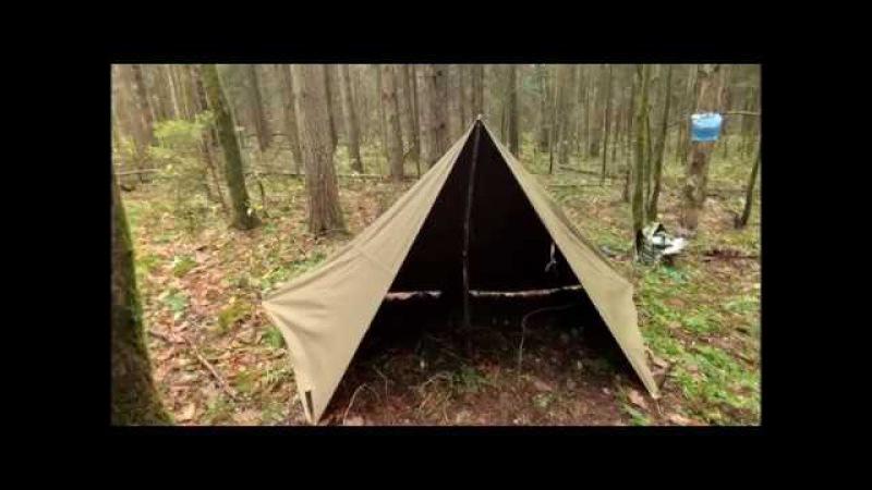 Суровый Бушкрафт | Ночевка в укрытии из Плащ-палатки. Bushcraft | Rus Army Cloak shelter Overnighter