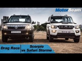 Mahindra Scorpio vs Tata Safari Storme V400 - Drag Race  MotorBeam
