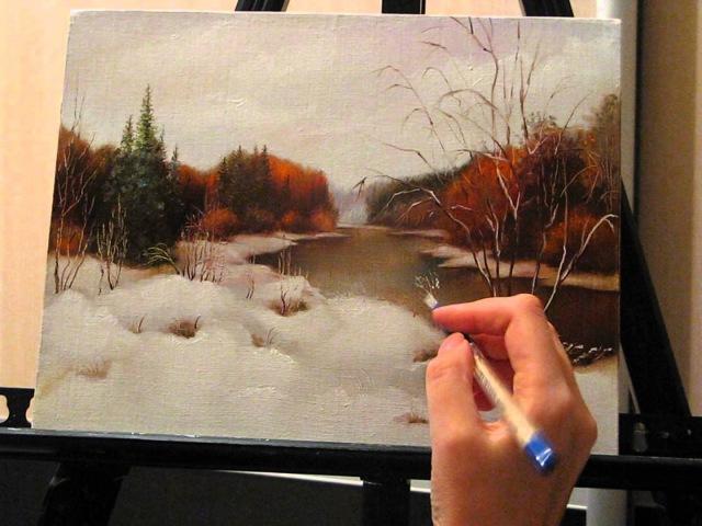 Уроки живописи маслом. Фламандская техника. Осенний пейзаж. Часть 3.