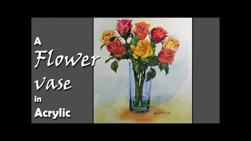 How to Paint Flowers in the Vase in Acrylic step by step