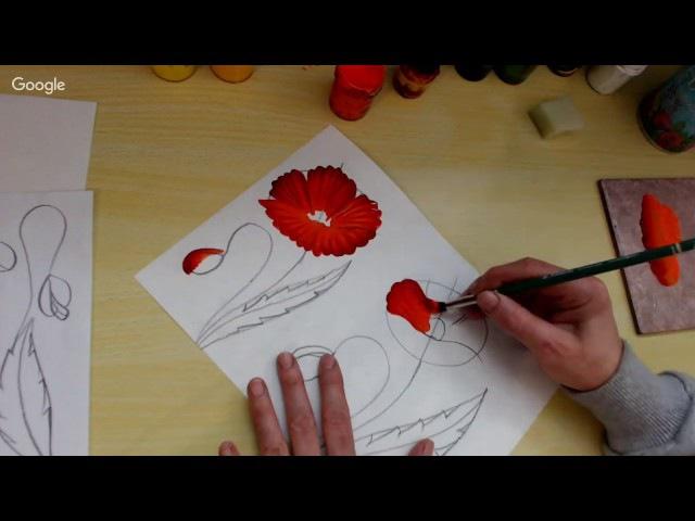 Рисуем маки за 10 15мин плоскими и круглыми кистями