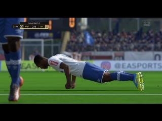 FIFA18 Мишаня празднует гол.