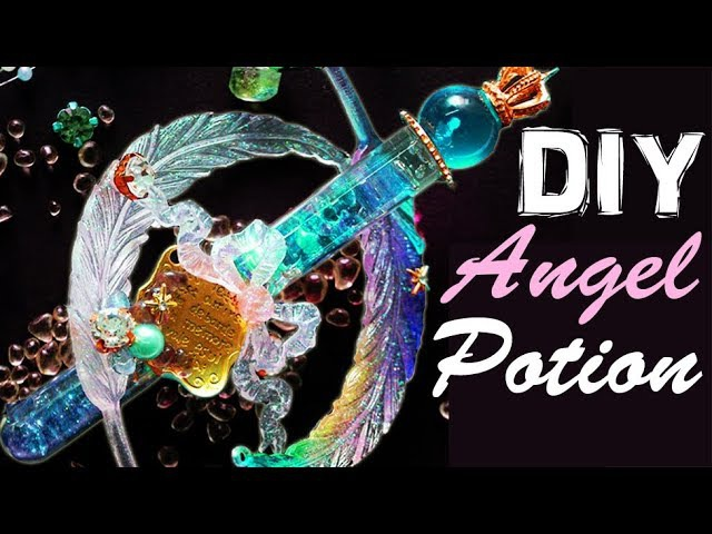 HOW TO MAKE ANGEL POTION epoxy resin craft polymer clay tutorial diy decor galaxy magical girl wand
