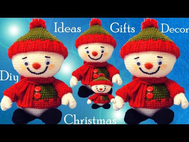 Muñecos de nieve a Crochet Ideas regalos decora tu Navidad tejido tallermanualperu