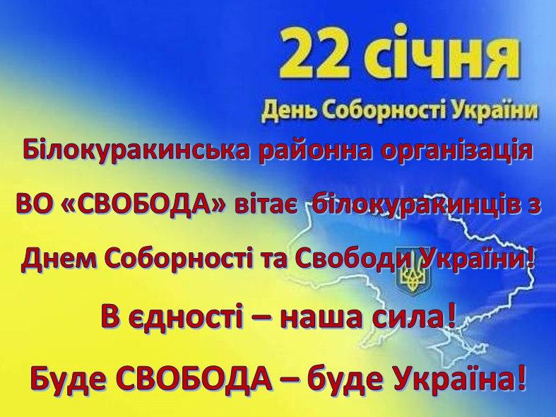 Привітання жителів Білокуракинщини з Днем Соборності та Свободи України, ВО Свобода, 2017 рік
