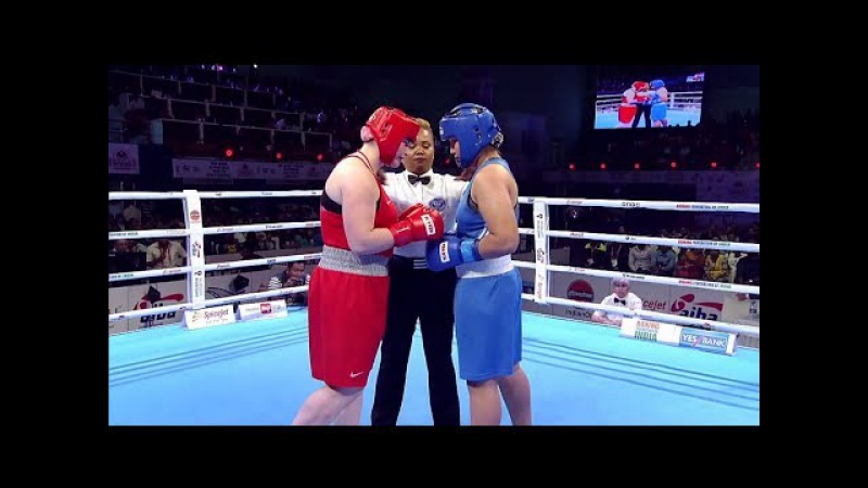 AIBA Women's Youth 2017 FINAL: (81kg) TKACHEVA Kristina (RUS) vs ISLAMBEKOVA Dina (KAZ) 26112017