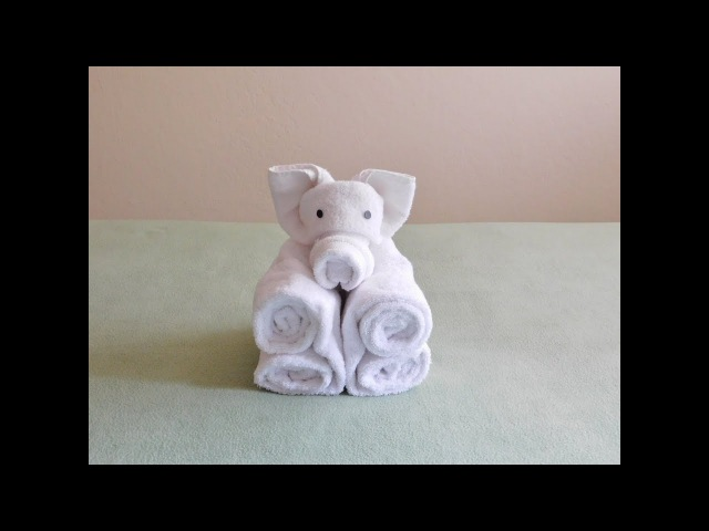 Towel Folding Animals; Folding a Towel Piggy with music.