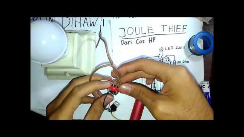 Begini caranya menyalakan lampu led menggunakan baterai Joule Thief