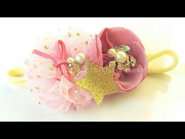 Headband Ideas : Kanzashi Flower Headband Crepe And Tulle Fabric Flower | DIY by Elysia Handmade