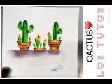 COMO DIBUJAR CACTUS  - ACUARELAS - how to draw cactus in watercolor