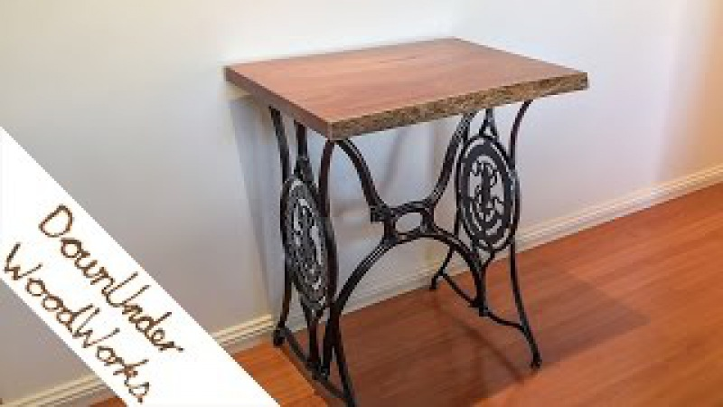 Antique Singer stand live edge table