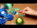 Греческая повязка с цветами и бутоном Канзаши - Видео мастер класс - DIY Kanzashi