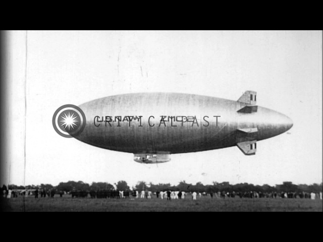 Metal-skinned airship ZMC-2 is launched and in flight over Grosse Ile, Michigan. HD Stock Footage
