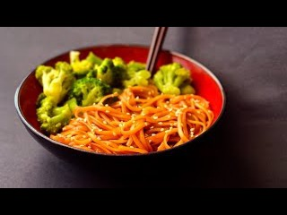 Vegan Asian Noodles & Broccoli - Homemade Teriyaki (Fat Free)