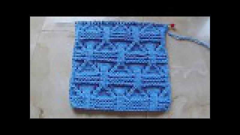 Плотный узор с ажурными вставками Вязание спицами Видеоурок 216