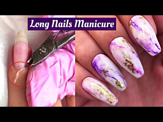How To Long Nails Manicure - Galaxy Foiled Nails - Nails Cuticle Cleaning Transformation 💅