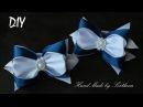 Бантики из лент для школы Канзаши DIY Kanzashi bow of ribbon Curva da fita 5