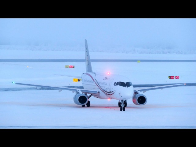 SSJ Cityjet startup and takeoff at Rovaniemi EFRO