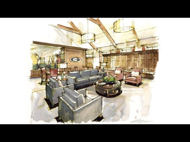 Tutorial - Hand Rendering, Interior, 140921 Golf Practice Facility – Men Lounge
