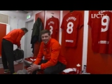 Gerrard taking his seat in the Anfield dressing