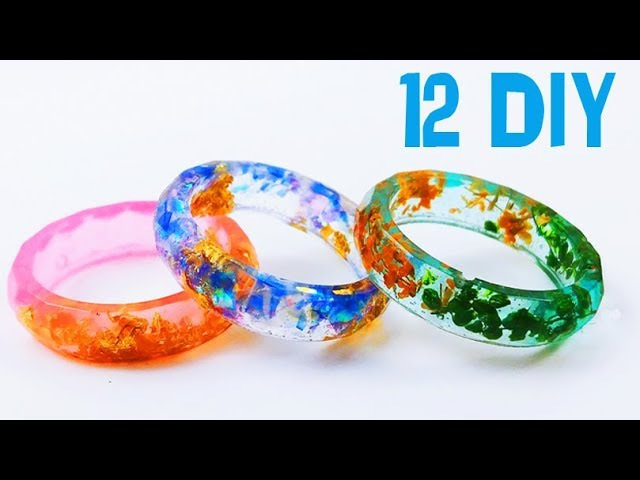 How To Make 12 Resin Rings Designs DIY epoxy resin 5 minute crafts